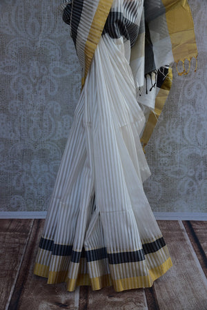 90D019 White Black & Golden Tissue Raw Silk Saree