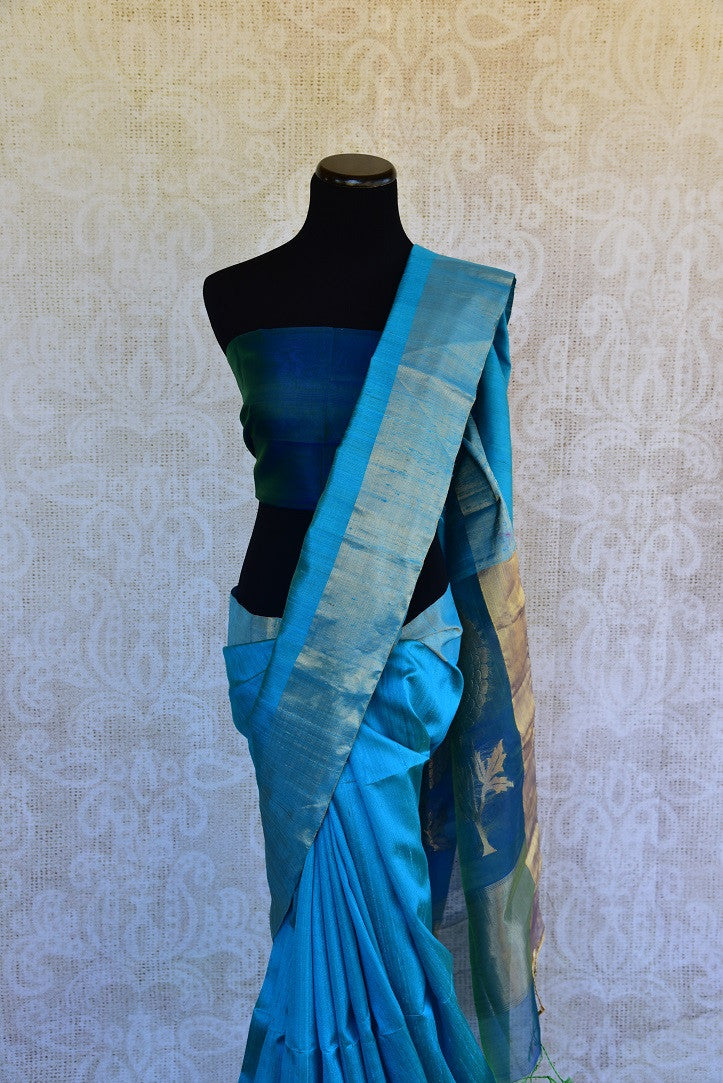90D021 Beautiful Blue Raw Silk Zari Saree