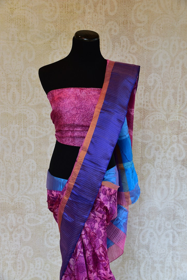 90D023 Printed Purple Kota Silk Saree
