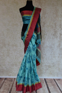 90D026 Printed Blue Kota Silk Saree