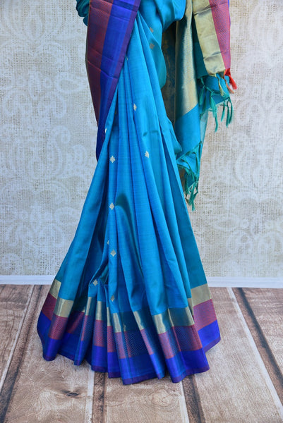 90D033 Elegant Blue Bangalore Silk Saree