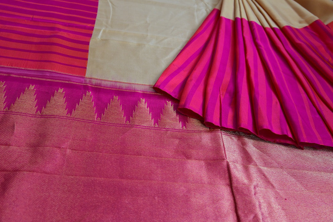 90D035 Pink Orange & Beige Kanchivaram Saree