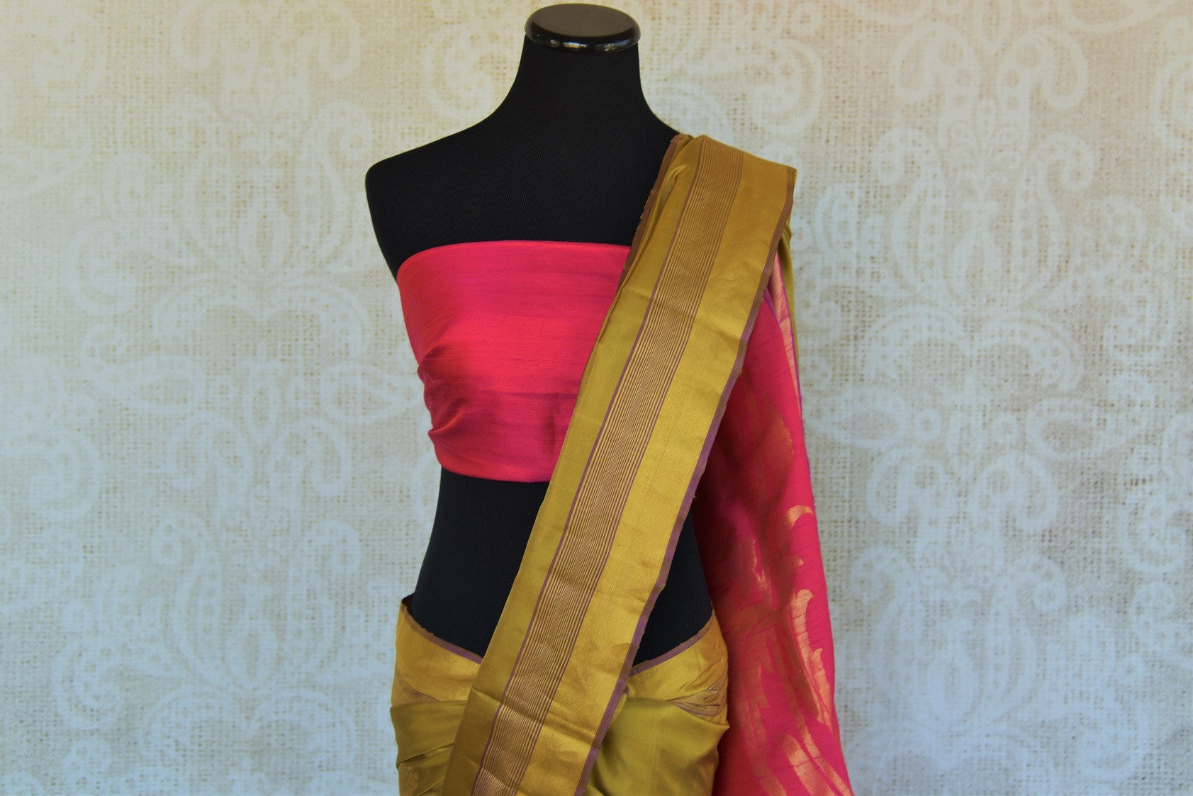 90D041 Mehendi Green and Pink Colored Kanjivaram Silk Saree , mehendi green and pink contrast