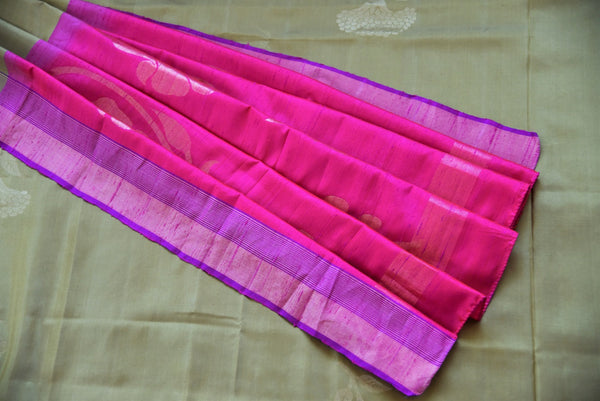 90D041 Mehendi Green and Pink Colored Kanjivaram Silk Saree , purple and pink kanjivaram pallu