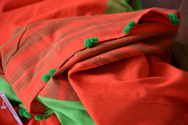 90D044 Red with green stitched raw silk blouse