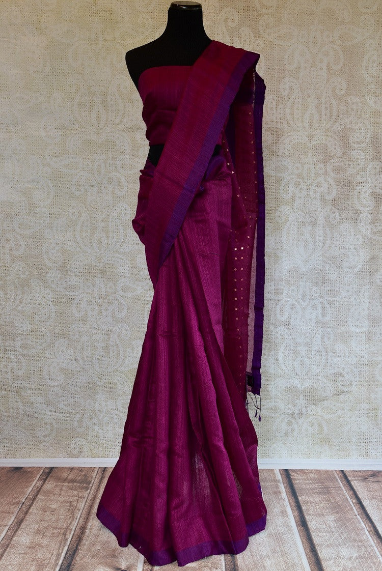 Pink and purple matka silk saree with tikki work. Ideal saree for your Indian pujas and festivals-full view