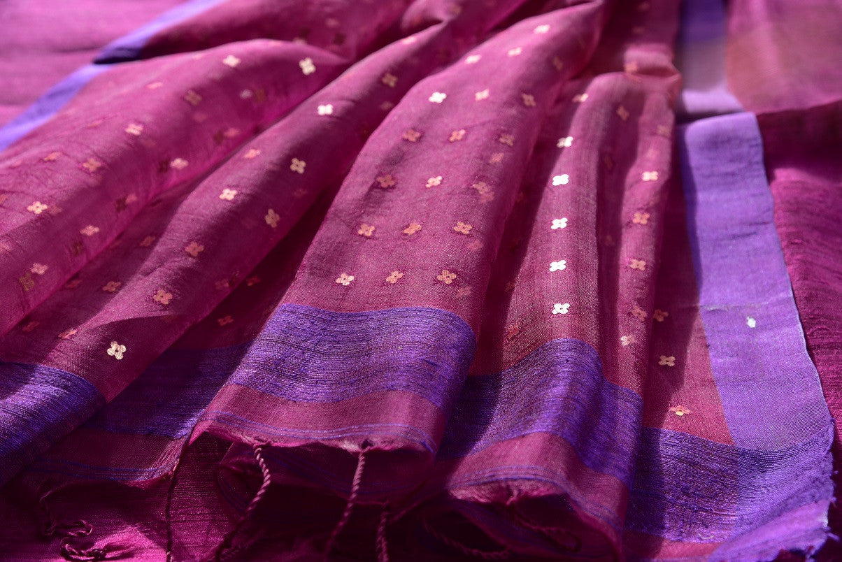 Pink and purple matka silk saree with tikki work. Ideal saree for your Indian pujas and festivals-close up