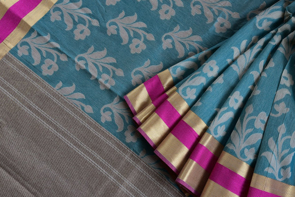 90D064 Blue & White Chanderi Cotton Saree