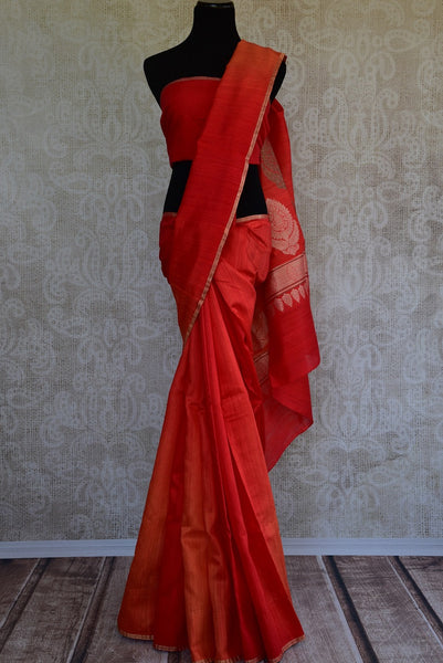 90D070 Simple Orange Matka Benarasi Saree
