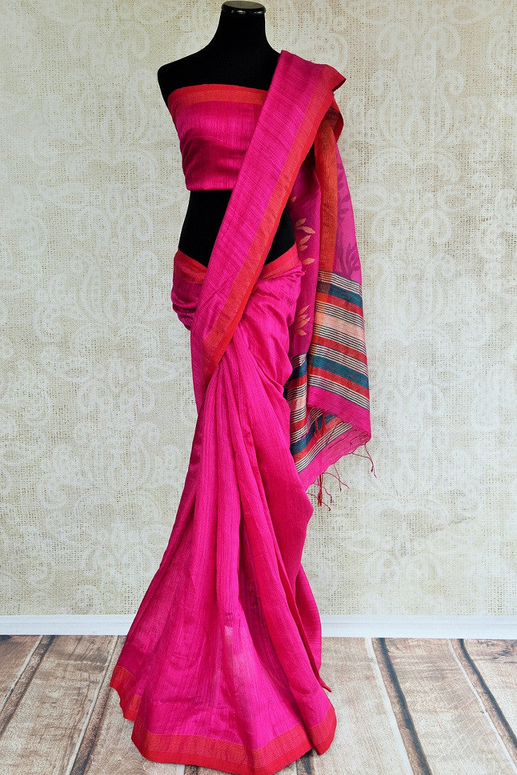 Shop online hot pink matka silk sari with jamdani pallu online. This Indian silk sari can be a party wear, wedding, or bridal sari. Buy this saree online at our ethnic clothing store Pure-Elegance in USA.