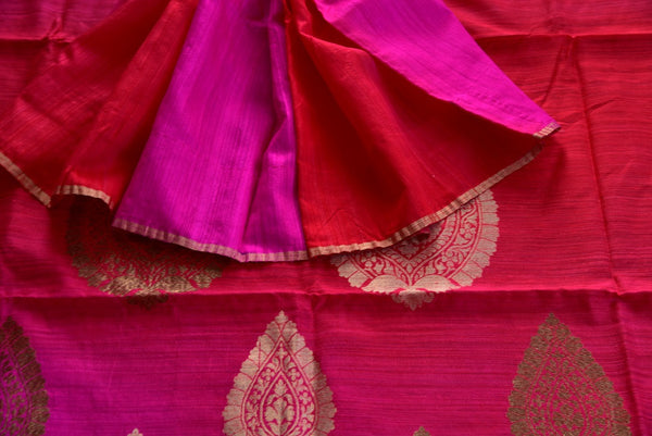 90D080 Shaded Pink Matka Benarasi Saree