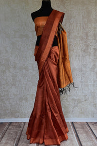 90D082 Rust Brown Bhagalpuri Tussar Saree