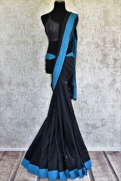 Buy stylish black Linen saree online with a readymade blouse from Pure Elegance or visit our store in USA. Shop from a range of beautiful Indian saris online in USA.-full view