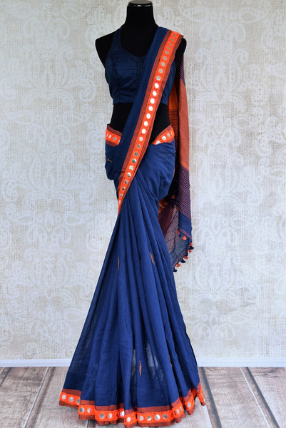 Buy stylish blue Linen saree online with mirror border from Pure Elegance or visit our store in USA. Shop from a range of beautiful woven Indian sarees online in USA.-full view