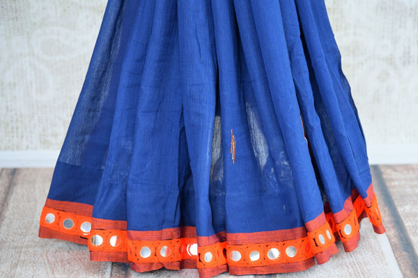 Buy stylish blue Linen saree online with mirror border from Pure Elegance or visit our store in USA. Shop from a range of beautiful woven Indian sarees online in USA.-pleats