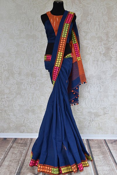 Very elegant linen saree with pre stitched blouse and hint of  different colors. Indian casual saree perfect in any season.-full view