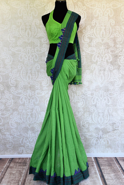 Buy stylish blue Linen sari online with readymade blouse from Pure Elegance or visit our store in USA. Shop exclusive woven sarees online for Indian women in USA.-full view