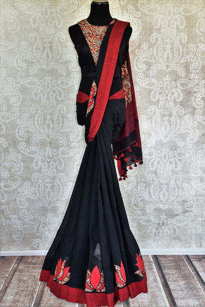 Buy black Linen Kalamkari sari online with readymade blouse from Pure Elegance or visit our store in USA. Pick from a range of woven Indian sarees online in USA.-full view