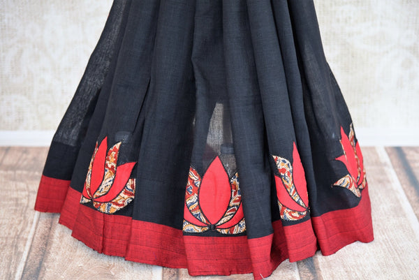 Buy black Linen Kalamkari sari online with readymade blouse from Pure Elegance or visit our store in USA. Pick from a range of woven Indian sarees online in USA.-pleats