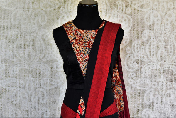 Buy black Linen Kalamkari sari online with readymade blouse from Pure Elegance or visit our store in USA. Pick from a range of woven Indian sarees online in USA.-pallu
