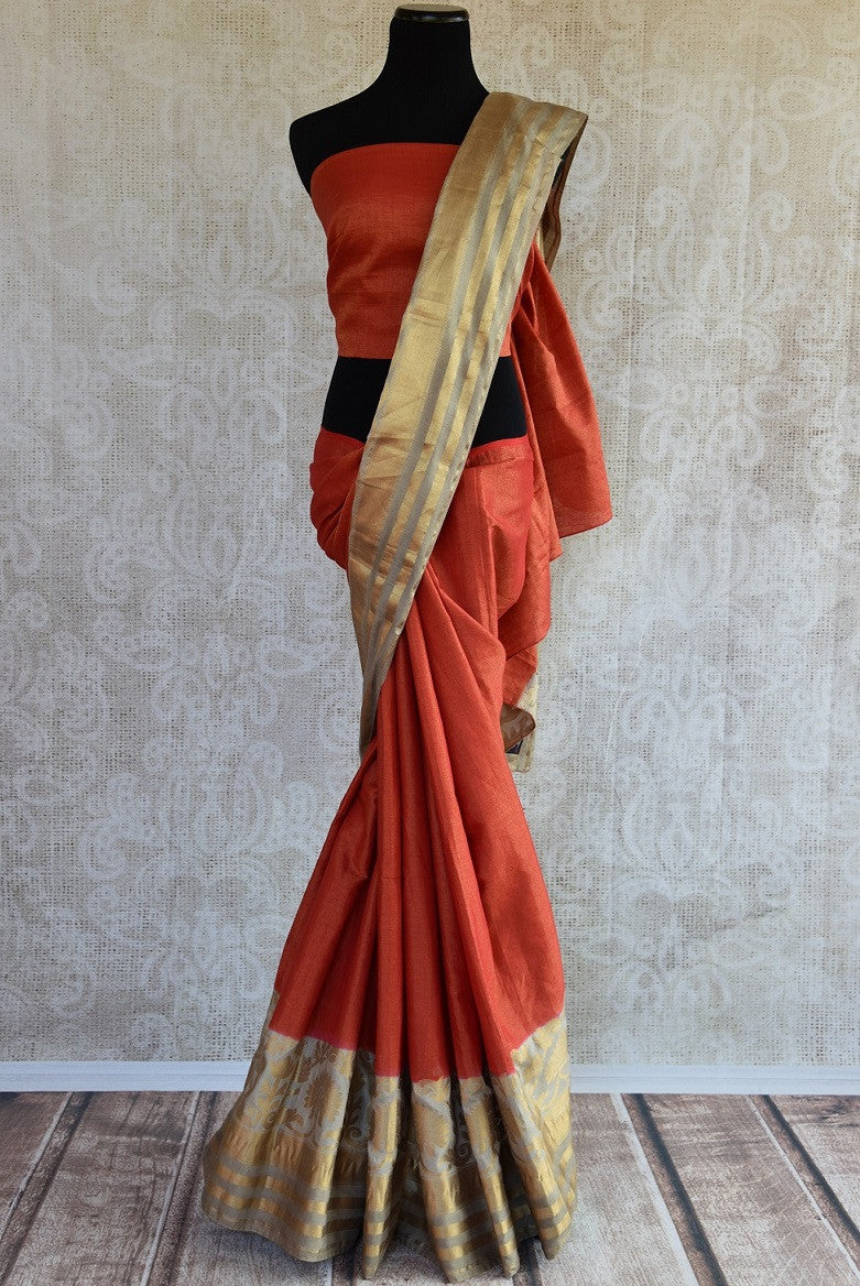 Buy rust orange tussar Banarasi sari online from Pure Elegance. Our Indian fashion store in USA brings an exquisite range of woven Banarasi sarees for weddings.-full view