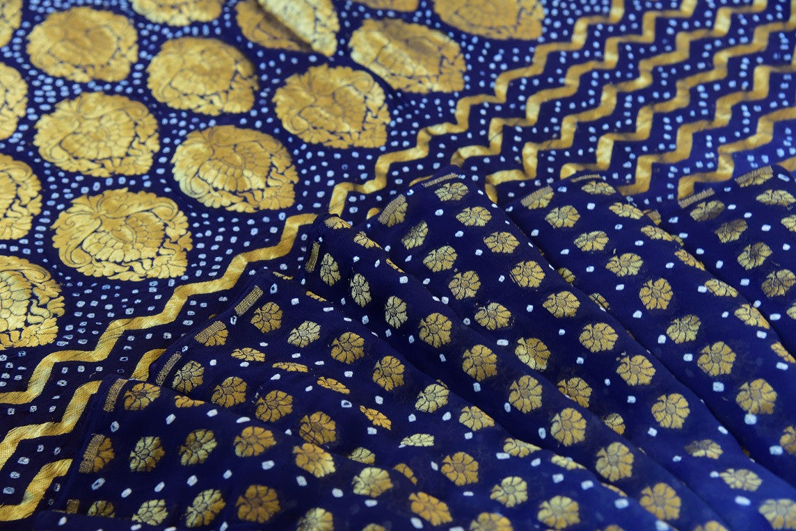 Georgette Banarasi saree with Bandhej details. Modern era saree with traditional touch.-close up