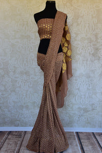 Buy brown Banarasi georgette saree online from Pure Elegance. Our Indian fashion store in USA brings an exquisite collection of woven Banarasi saris in USA for women.-full view