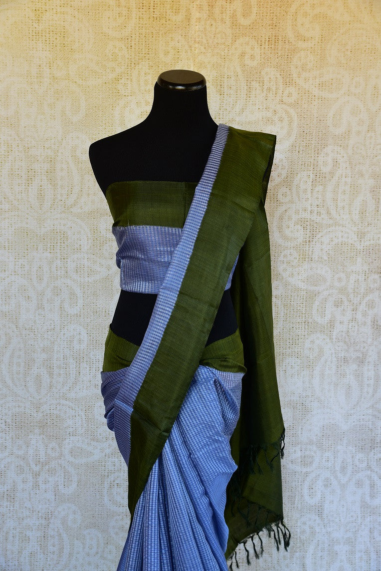 90D116 Blue & Green Resham Gadhwal Saree