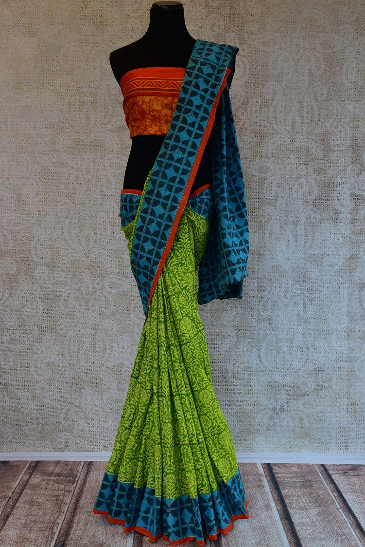 90D124 Printed Green & Blue Cotton Saree