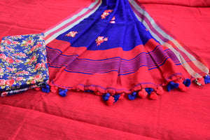 90D125 Maroon & Blue Cotton Baha Saree With Blouse
