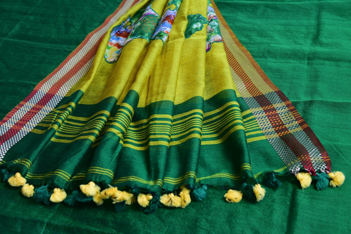 90D127 Green Cotton Baha Saree With Printed Blouse
