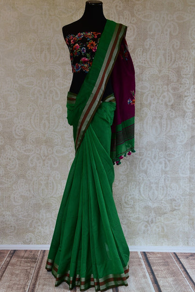 90D128 Green Cotton Baha Saree With A Printed Blouse