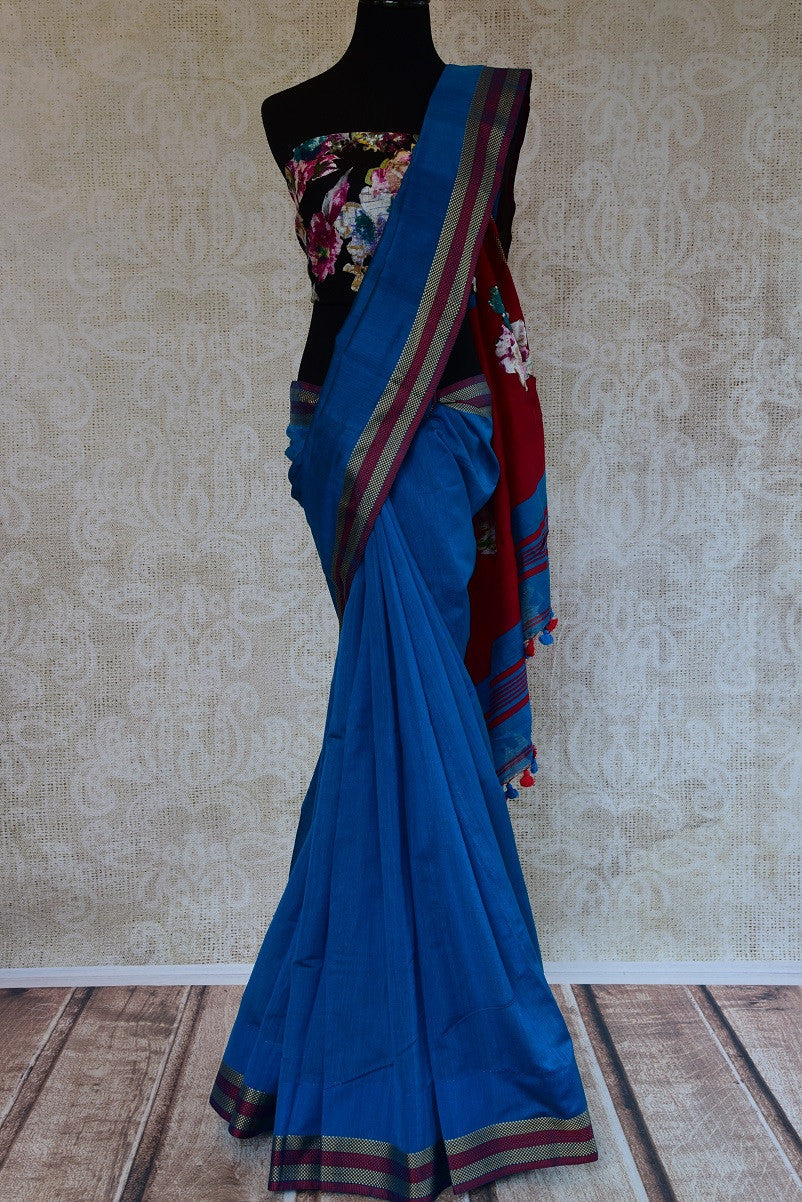90D130 Cotton Baha Printed Blue Saree