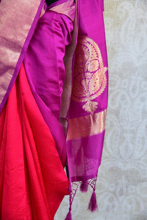 90D137 Red & Purple Tussar Benarasi Saree
