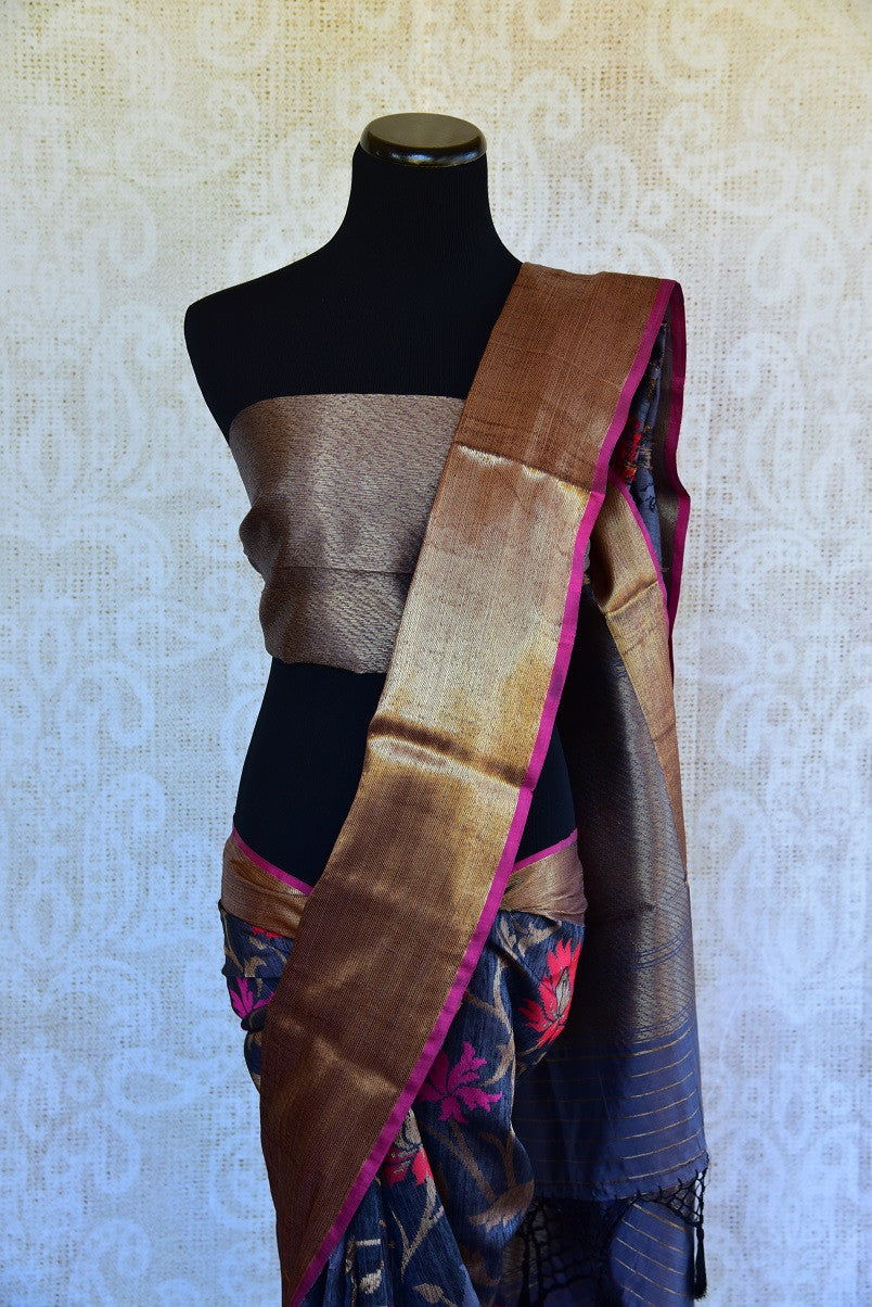 90D142 Floral Black Silk Benarasi Saree