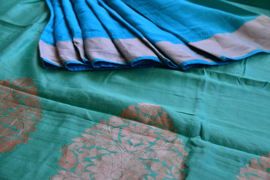 90D143 Blue & Green Tussar Benarasi Saree
