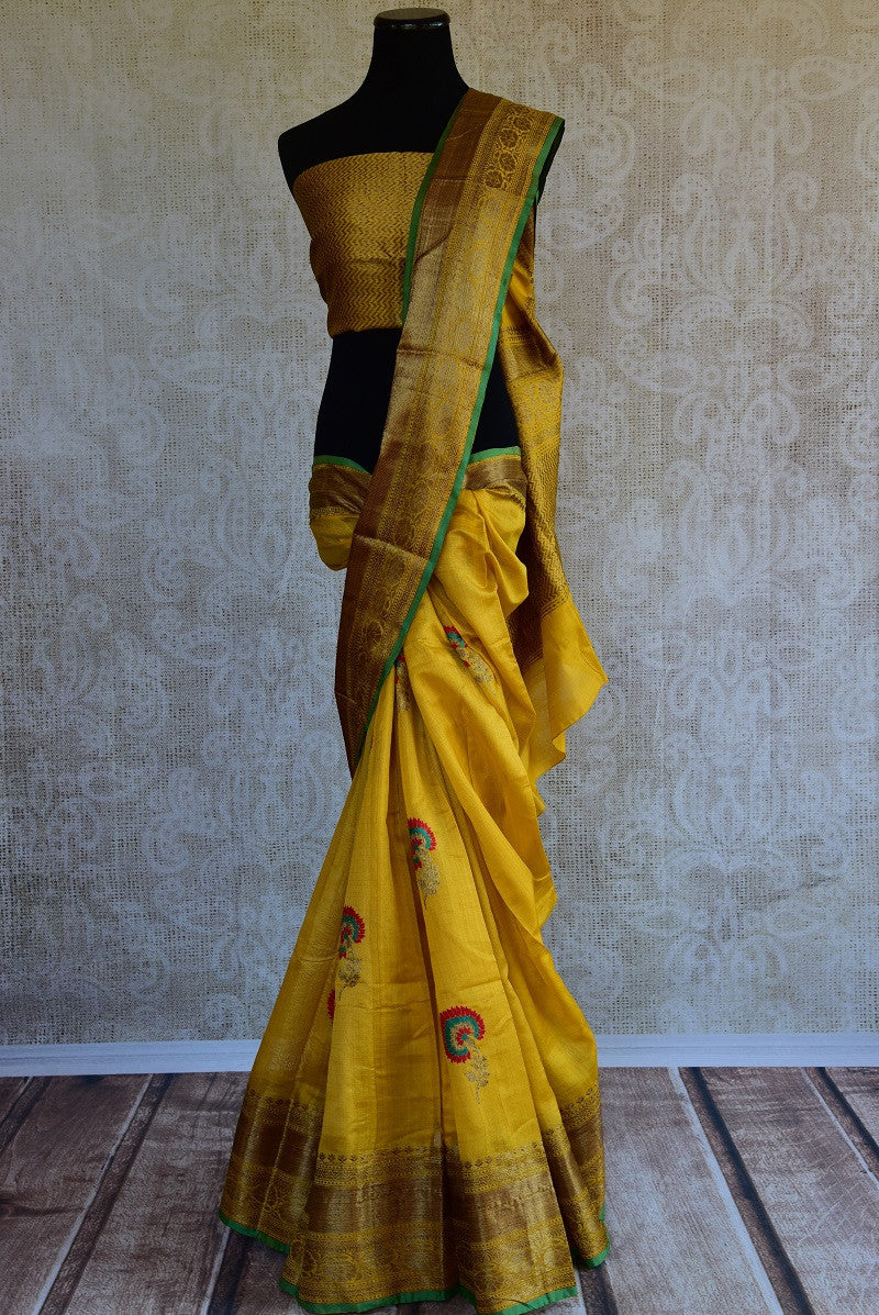 Tussar banarasi saree in yellow. Perfect saree for Indian wedding events and pujas. Grab this yellow and gold classy combination-full view