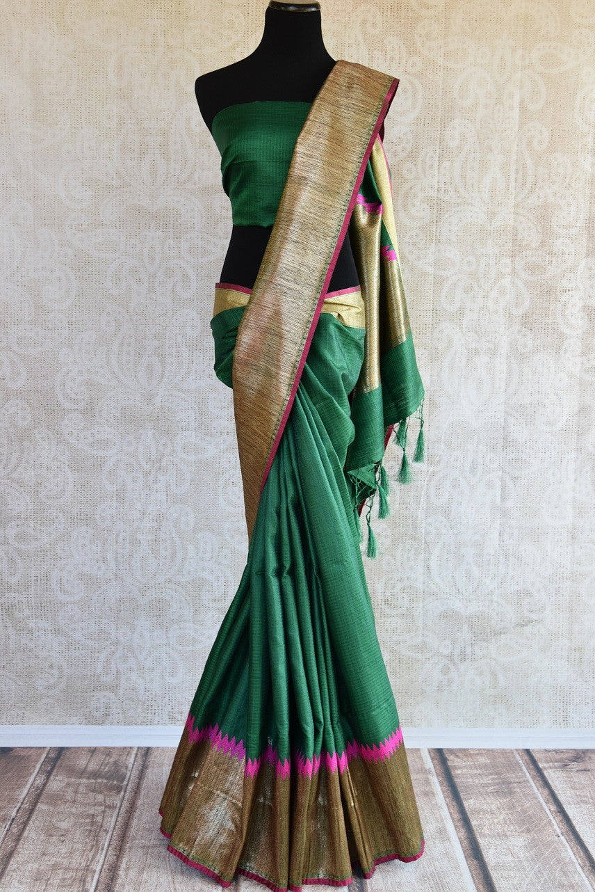 Buy online dark green muga Banarasi saree online in USA. Explore a collection of Indian designer sarees in USA at Pure Elegance online store or visit our fashion store in USA.-full view