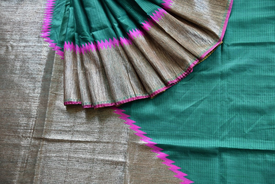 Buy online dark green muga Banarasi saree online in USA. Explore a collection of Indian designer sarees in USA at Pure Elegance online store or visit our fashion store in USA.-details