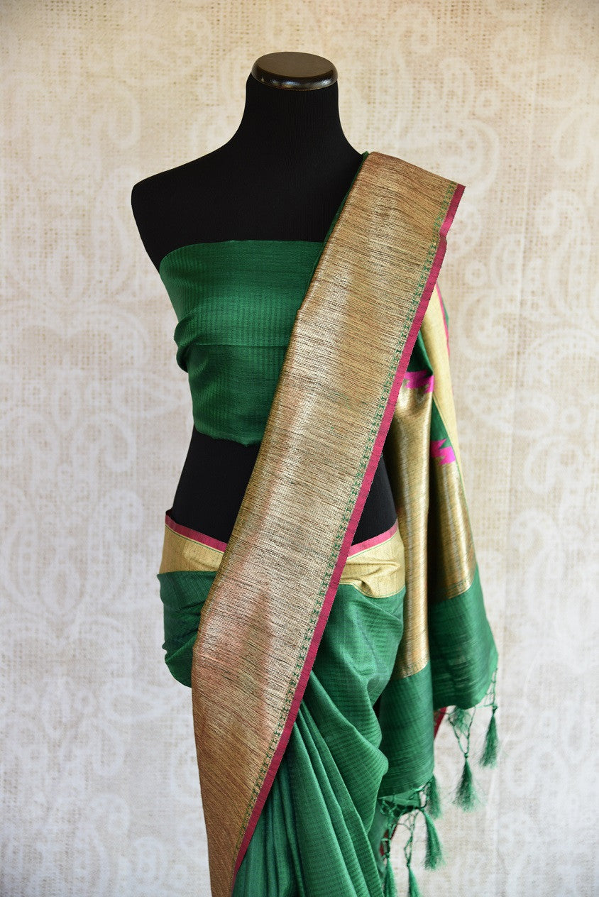 Buy online dark green muga Banarasi saree online in USA. Explore a collection of Indian designer sarees in USA at Pure Elegance online store or visit our fashion store in USA.-blouse pallu