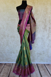 Buy online green muga Banarasi sari online in USA. Explore a collection of exquisite Indian designer sarees in USA at Pure Elegance online store or visit our fashion store in USA.-full view