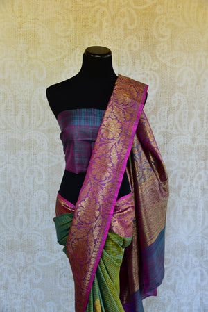 Buy online green muga Banarasi sari online in USA. Explore a collection of exquisite Indian designer sarees in USA at Pure Elegance online store or visit our fashion store in USA.-blouse pallu