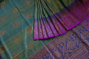 Buy online green muga Banarasi sari online in USA. Explore a collection of exquisite Indian designer sarees in USA at Pure Elegance online store or visit our fashion store in USA.-details