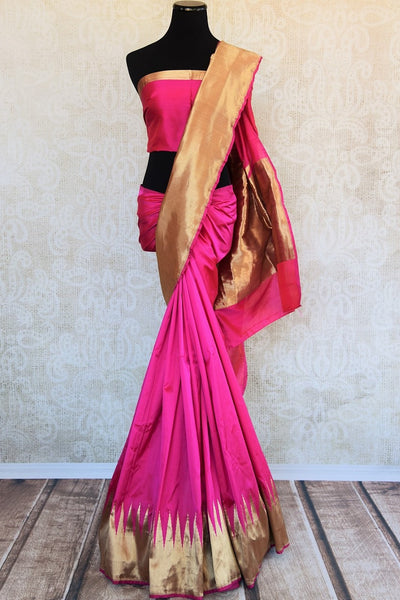 90D190 The ethnic Indian woven benarasi silk sari is available online at Pure Elegance as well as the store in USA. It is perfect for any sangeet or engagement party.