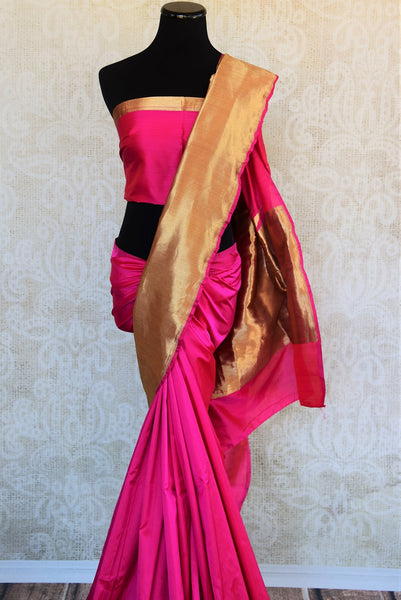 90D190 The ethnic Indian woven banarasi silk saree is available online at Pure Elegance as well as the store in USA. It is perfect for any sangeet or engagement party. closer look