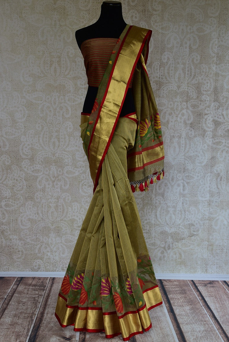 90D193 Olive Green Cotton Saree With Tissue