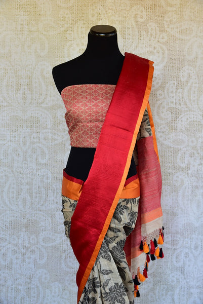 90D197 Black White & Red Tussar Benarasi Saree