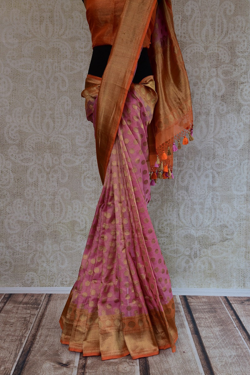 90D200 Pink & Gold Tissue Benarasi Saree