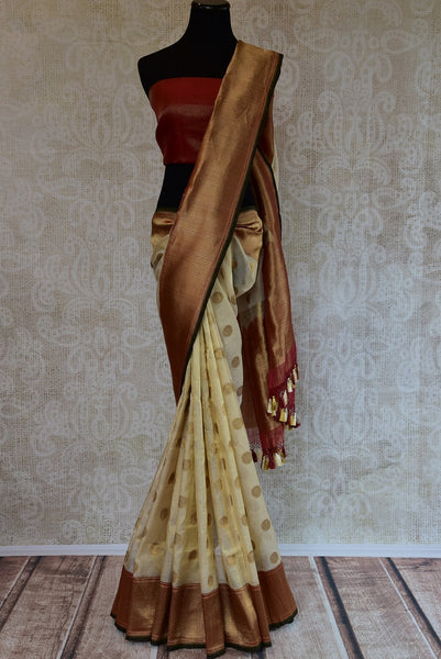 90D207 White Maroon & Gold Tissue Benarasi Saree