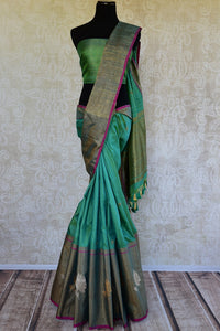 90D208 Sea Green Muga Benarasi Saree